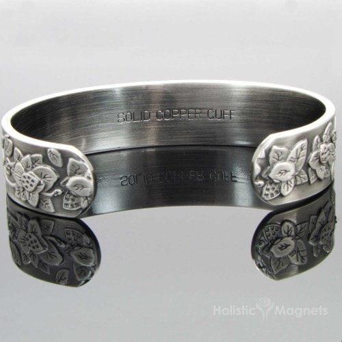 Copper Magnetic Bracelet for Women-Embossed Flowers