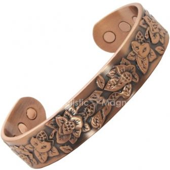 Womens Copper Magnetic Bracelet for Arthritis- Embossed Flowers