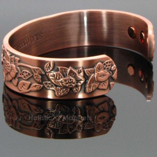 Luxurious Women S Copper Magnetic Bracelet Embossed Flowers