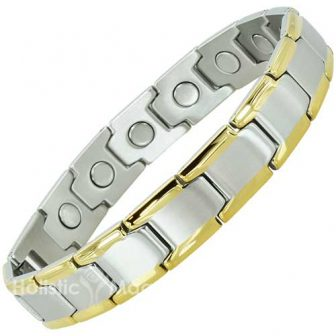 Luxury Two-Toned Mens Stainless Steel Magnetic Bracelet with Extra-Large Nd Magnets.