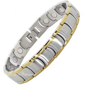 Elegant Two-Toned Mens Stainless Steel Magnetic Bracelet with Extra-Large Nd Magnets
