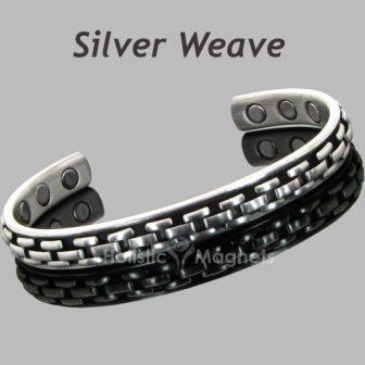 copper core magnetic bracelet silver weave