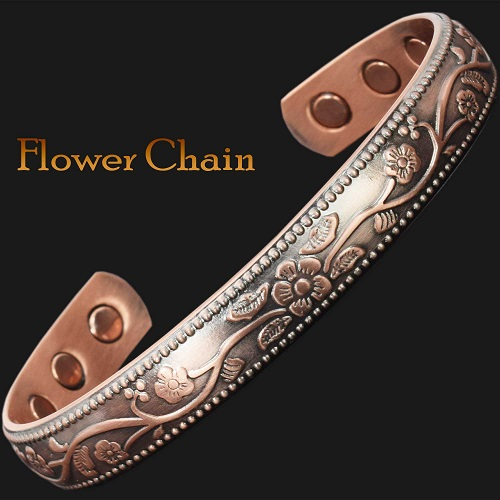 Las Magnetic Bracelet Arthritis For Pain Therapy Bangle Wristband Copper Flower