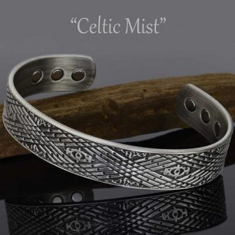Magnetic Therapy Bracelet for Men Copper Bracelet for Arthritis Antique Silver Toned - Celtic Mist