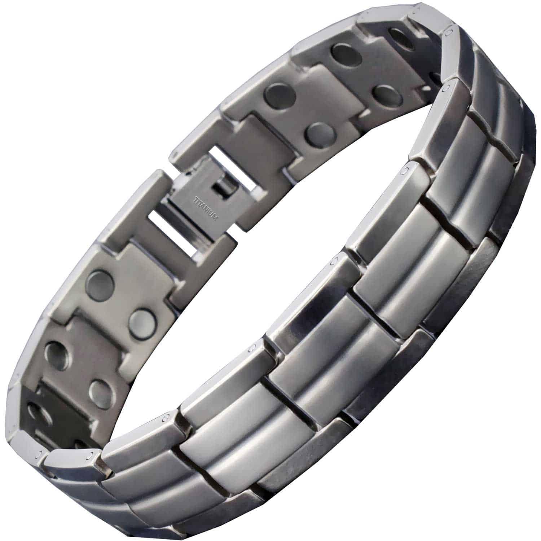 Mens Black /& Silver Bracelet with Titanium Magnetic Clip