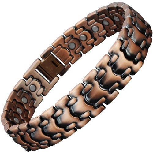 Premium Copper Plated Stainless Steel Magnetic Bracelet for Men with 26 Nd Magnets - CS1