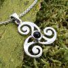 silver triple spiral pendant