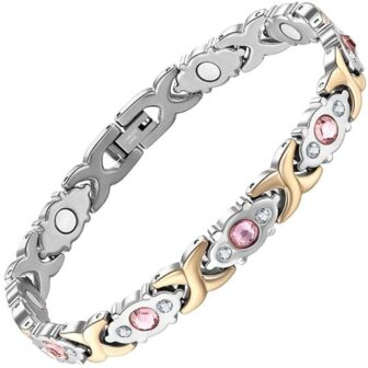 magnetic bracelet for women with pink zirconia silver gold holistic magnets pgm