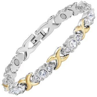 Magnetic bracelet with glittering diamante gemstones
